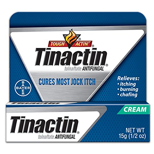 commercial Tinactin Jock Itch antifungal cream for the treatment of body fungi, tolnaftate 1%, applied daily … jock itch cream