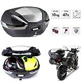 Givi V47NT Tech - Baúl para Moto con Enganche monokey de 47 litros, Sistema de fijación monokey de Aluminio anodizado para 2 Cascos modulares de 320 x 450 x 590 mm