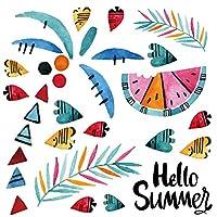 夏☆シール式ウォールステッカー summer 夏休み 祭り ひまわり 海 太陽 飾り 30×30cm ヤシの木 カラフル スイカ 017326