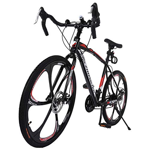 Mountain Bike,Commuters Aluminum Full Suspension Road Bike 21 Speed Disc Brakes, 700c Suitable for Mountain/Wasteland/Roads/Cities/Beaches/Snow