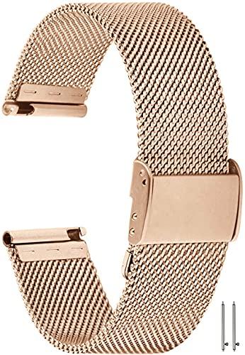 YGRY Correa de Reloj para Reloj Inteligente, Metal Watch Strap de Malla de Acero Inoxidable de 18 mm / 20 mm / 22 mm Pulseras de Repuesto de liberación rápida para Hombres y Mujeres (18 mm, Oro Rosa)