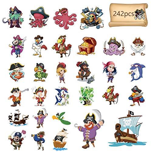 MENGON - Juego de 24 hojas de tatuajes temporales de piratas, 242 piezas, motivos para fiestas infantiles, regalo de cumpleaños, regalo para niño, agradable a la piel, impermeable, colorido