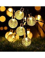 LEDGLE Globe Solar String Lights, 20ft 30 LED Fairy Crystal Ball Kerstverlichting, Outdoor Decoratieve Solar Lights voor thuis, Tuin, Patio, Gazon, Feest en Vakantie (Warm Wit)