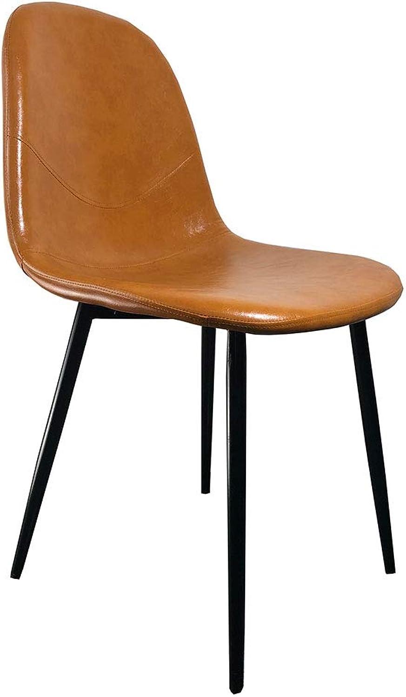OUG Outdoor Side Chair Schmiedeeisen, Hochwertiges Leder, L-frmiges Rückendesign, Geeignet für Wohnzimmer oder Café (45 × 47 × 84 cm)