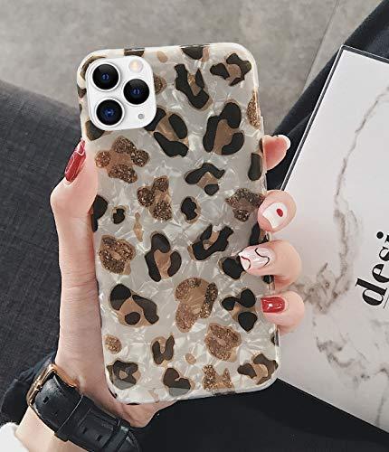 JAWSEU Zachte TPU Siliconen Sparkle Seashell Case Compatibel met iPhone 11 Pro Luipaard