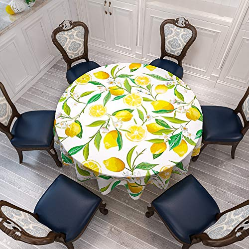 VVA Round Tablecloth Nature Exotic Lemon Tree Branches Flowers Leaves Kitchen Gardening Design Circular Table Cover for Dining Room Kitchen Décor Family Dinners Gatherings Indoor Outdoor Events 60''