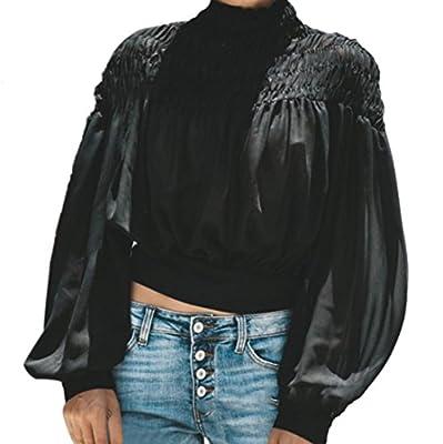 Zainafacai Fashion Crop Tops-Women's Casual Loose Turtleneck Blouse Ruched Lantern Shirts