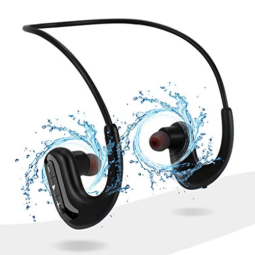 Waterproof Headphones for Swimming, IPX8 8GB in-Ear Wireless Earbuds Sport Wearable MP3 Player Headset with Noise Cancelling Microphone for Running, Cycling, Workout, Jogging, Diving Water (Black)