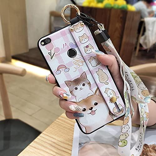 Lindo Protección Lulumi Funda para Huawei P8 Lite 2017/P9 Lite 2017/GR3 2017, Resistente a la Suciedad Suave Flexible Brillo para Las niñas Moda Moda Silisilisili, Perros y Gatos de Color Rosa