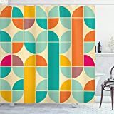 Ambesonne Retro Shower Curtain, Pop Art Funky Unusual Geometric Forms Mosaic Style Old Fashioned Graphic, Cloth Fabric Bathroom Decor Set with Hooks, 75' Long, Teal Orange