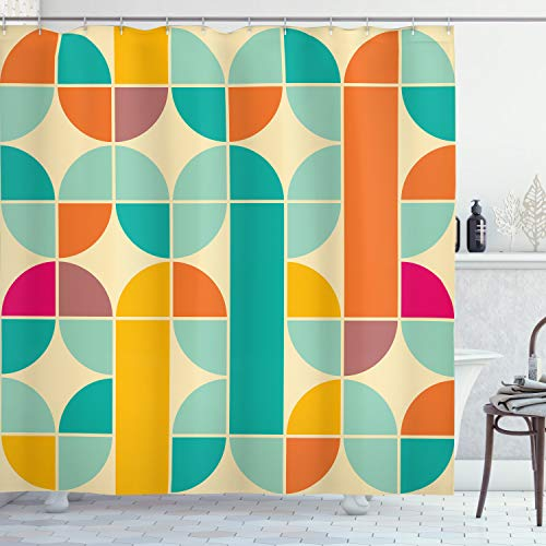 """Ambesonne Retro Shower Curtain, Pop Art Funky Unusual Geometric Forms Mosaic Style Old Fashioned Graphic, Cloth Fabric Bathroom Decor Set with Hooks, 75"""" Long, Teal Orange"""