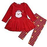 Traje Navidad de Bebé Niña Conjunto Vestido Navideño en Tul de Manga Larga con Dibujo de Santa Claus + Pantalones a Rayas (0-3 Años)