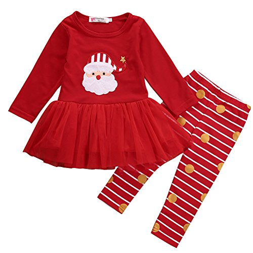 Xmas Outfit for Girls Babys Santa Claus Tutu Dress with Striped Pant Clothing Set (0-6 Months, Red)