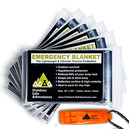 Versatile Emergency Blanket (6-Pack) - Essential Outdoor Survival Gear for Camping and Hiking - Made From Strong Mylar Foil for All Weather Protection - Includes Bonus Emergency Whistle and User Guide