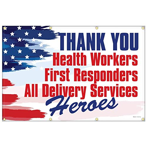 Heavy-Duty Vinyl Thank You Health Workers, First Responders, All Delivery Services Heroes Extra Large (4' x 6') Banner Flag for Outdoor or Indoor Use