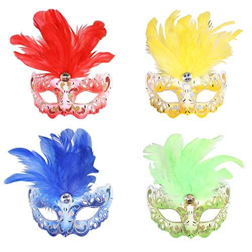 Jannes 2181 Venezianische Maske Mini mit Feder Maske Venedig Venezianisch venezianischer Karneval Pestmaske Maskenball Venezia Vogelmaske Einheitsgröße Blau