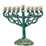 YU FENG 9 Branch - Velas de Janucá Menorá pintadas a Mano con Vid de Flores Curvas de Menorá de Chanukiah