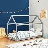 BAÏTA Lit cabane Enfant Montessori Tiny - Bois Massif de pin Gris - 90x190cm