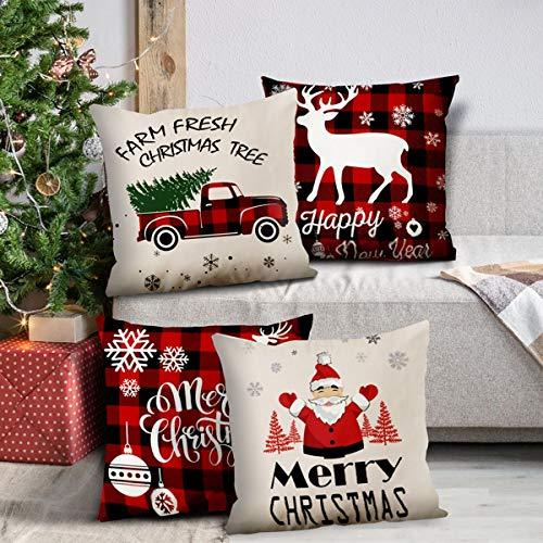 Gennissy - Set di 4 federe per cuscini natalizi con Babbo Natale, 45,7 x 45,7 cm, Natale a, 45 x 45 Centimeters