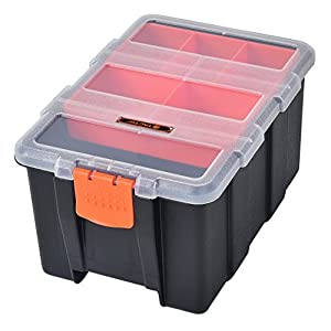 Tactix 320020 4-in-1 Plastic Tool Organizer Set, Black/Orange