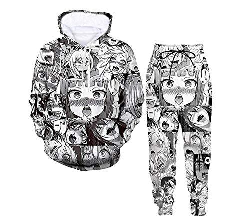 5husihai Unisex A-heg-ao Lifelike 3D Print Anime Hoodie Sweatpants Two-Piece Suit Medium