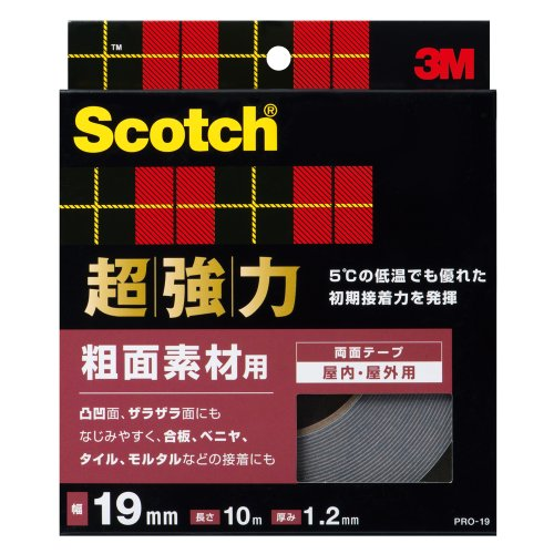 3M スコッチ 超強力両面テープ 粗面素材用 19mm×10m ...