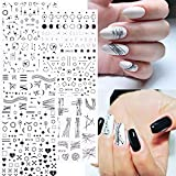7 Sheets Black Stars Moons Line Nail Stickers, 3D Black Star Arc Moon Geometric Line Love Heart Self-Adhesive Design Decals for Acrylic Nails, DIY Nail Supplies Nail Decoration Kit