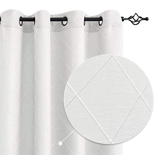 White Curtains Jacquard Living Room Window Curtain Set Diamond Design Bedroom Drapes 63 inch Long 2 Panels
