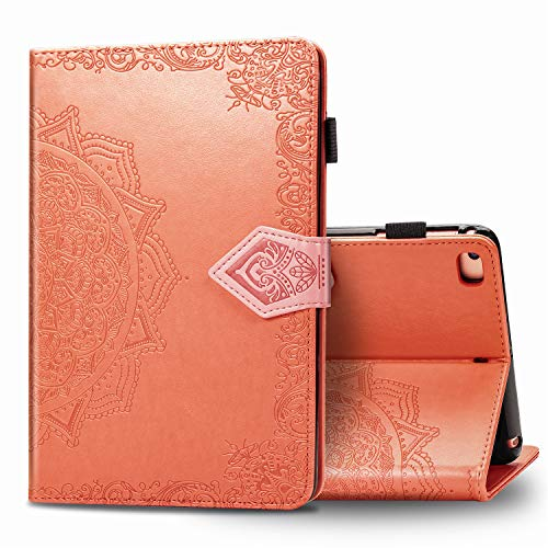 Case for iPad 10.2 Inch 8./7th Generation Embossed Flower Folio Stand Cover with Pocket, Pen Holder, Auto Wake/Sleep Case for iPad Air 10.5 Orange