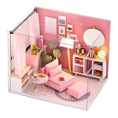 Blanket Mini Scatola di Latta retrò 3D in Miniatura in Legno per casa delle Bambole con mobili luci a LED, Kit di Giocattoli educativi con mobili