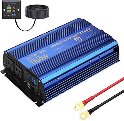 Power Inverter 1100watts DC 12V to AC 120V Modified Sine Wave Inverter with LCD Display Remote Control 2AC Outlets Dual 2.4A USB Ports for Car RV Truck Boat by VOLTWORKS