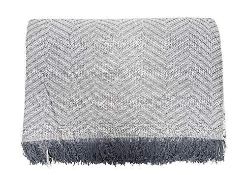 Cabatex Home - Colcha Multiusos Plaid Foulard Cubre SOFÁ O Cama Mod. ZIGA (Gris, 230_x_260_cm)