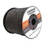 Lukinsen パラコード 9芯 4mm パラシュートコード 耐荷重280kg ガイロープ テントロープ キャンプ アウトドア アクセサリー制作用 (黒, 50m)