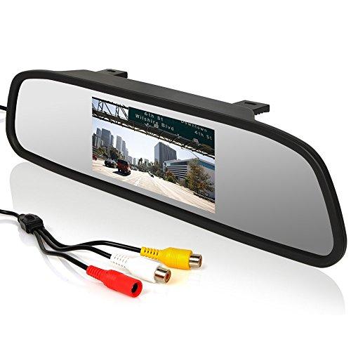 Espejo Retrovisor Coche Monitor, 12-24V 4.3 Pulgadas LCD Pantalla para Coche Monitor para Camara Marcha Atras/Camara Delantera/Media Player/Seguridad Conducir, Retrovisor Coche-2 Maneras Entrada