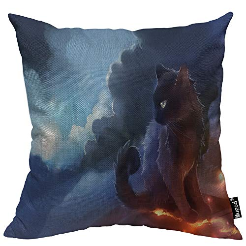 Mugod Warrior Cat Throw Pillow Cover Fantasy Sky Cloud Sun Grey Cat Mystical Space Light Decorative Pillow Cases Square Cotton Linen Cushion Cover for Home Bed Sofa Couch 18x18 Inch