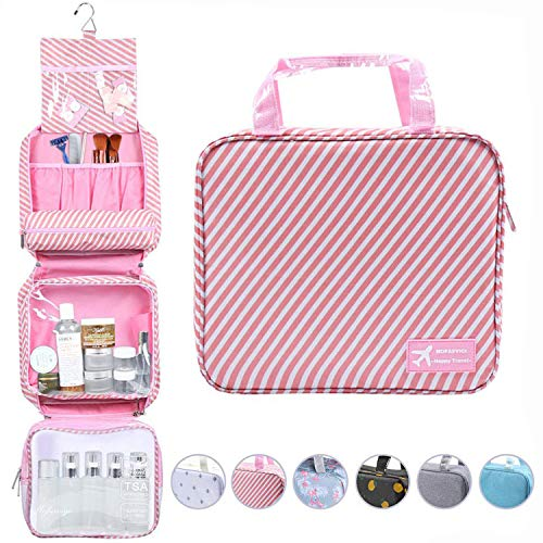 Hanging Travel Toiletry Bag Waterproof Makeup Organizer Large Capacity Portable Travel Storage Pouch Cosmetic Handbag with Sturdy Hook/Detachable Clear Bag/Luggage Strap (Striped Pink)