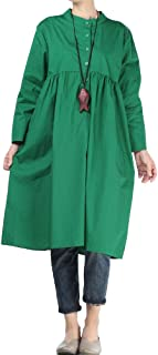 Mordenmiss Women's Pleated Dresses Long Sleeve Midi Shirt Dress with Pockets M-2XL