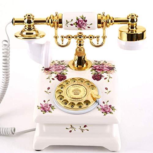 TRTT Clásico Europeo Retro teléfono Fijo Creativo teléfono Retro Resina Europea dial Giratorio decoración del teléfono cafetería Bar decoración de la Ventana Accesorios de decoración del hogar, u