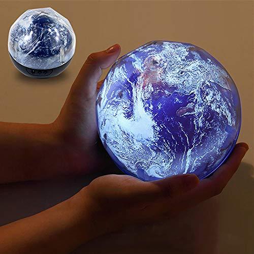 LULAA LED ナイトライト プロジェクションランプ 宇宙 月球 地球 360度回転式 3フィルム 付き 3色変換 USB...