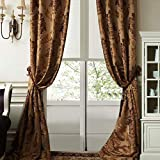 """IYUEGO Luxury European Style Jacquard Silky Heavy Fabric Grommet Top Lining Blackout Curtains Drapes with Multi Size Custom 50"""" W x 96"""" L (One Panel)"""