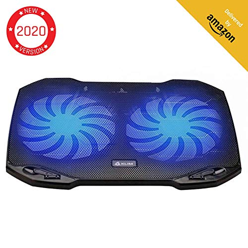 KLIM Pro Laptop Cooling Pad - The Most Powerful Slim PC Fan Cooler for Computer - Rapid Cooling Action - 2 Fans Ventilated Support - Light Quiet - USB Laptops Portable Gaming Stand 11 to 15.6 inches