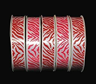 5 Spools Valentine Pink Red White Zebra Animal Print Glitter Satin Ribbon Lace Trim Embroidery Applique Fabric Delicate DIY Art Craft Supply for Scrapbooking Gift Wrapping 5/8