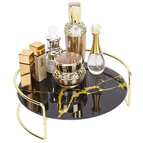 Simmer Stone Sminkförvaring bricka, dekorativ glasfåfänga parfymbricka, kreativ kosmetisk förvaring för byrå, badrumsbänk och soffbord, 20 cm D x 9 cm H, gyllene svart marmorering