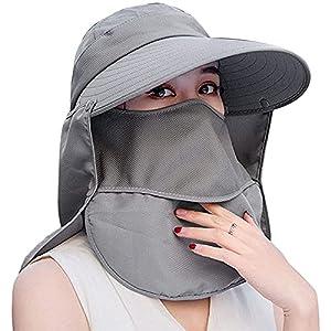 ガーデニング 帽子 農園帽 サンバイザー UVカット つば広 折りたたみ 紫外線対策 日よけ 首ガード おしゃれ帽子 フェイスカバー 農作業 園芸 釣り アウトドア (グレー1)