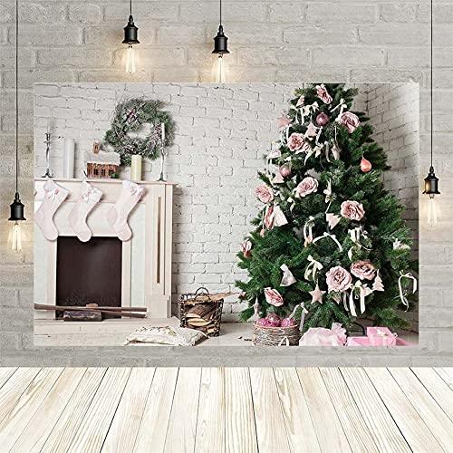 Invierno Navidad Chimenea Flor Guirnalda Calcetines cumpleaños Blanco bebé recién Nacido decoración telón de Fondo Foto Personalizada Vinyl-250x180cm
