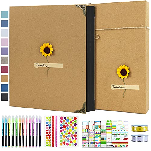 Vienrose Photo Album Scrapbook 60 Pages Hardcover 8.5 x 11 Inch with DIY Scrapbooking Kit 3 Rings Black Paper Scrapbook for Lover Friends Kids Anniversary Wedding Gift