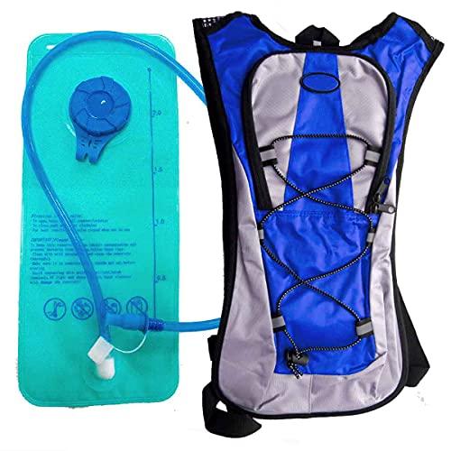 Mochila Hidratação 2 Litros Bolsa Água Impermeável Bike Azul