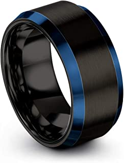 Tungsten Carbide Wedding Band Ring 10mm for Men Women Green Red Blue Purple Black Gunmetal Copper Fuchsia Teal Interior with Blue Beveled Edge Brushed Polished