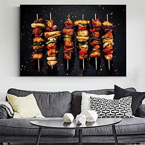 HJKLP Brocheta De Pollo Kebab Pintura En Lienzo Parrilla Comida Poster E Impresiones Creatividad Arte De La Pared Barbacoa Cuadros Restaurante Comedor Decoracion 60x90cm Sin Marco