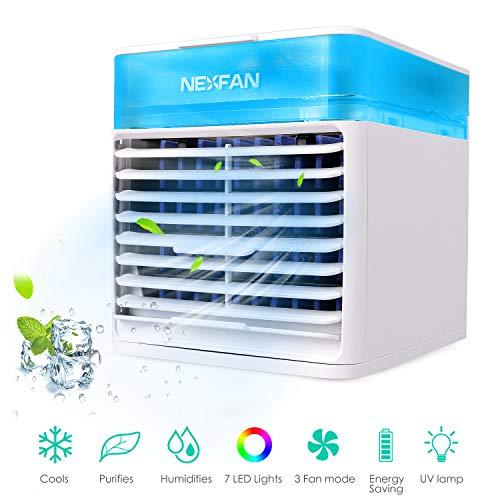 Esolom - Condizionatore di raffreddamento ad acqua, refrigeratore evaporativo, mini condizionatore personale, con 7 luci LED, 3 velocità, per casa e ufficio, bianco